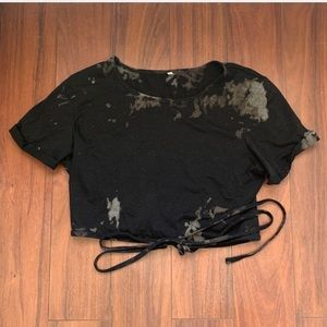 SHEIN BLACK CROPPED SHORT TOP WITH BLEACH STAINS